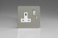 Varilight 1 Gang 13 Amp Double Pole Switched Socket Ultra Flat Brushed Steel