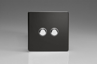 Varilight V-Pro IR Series 2 Gang Slave Unit for use with V-Pro IR Master Dimmers Screwless Premium Black