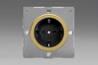 Varilight European Brushed Brass VariGrid 1 Gang 16A Schuko Socket Flush Design