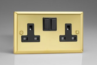Varilight 2 Gang 13 Amp Double Pole Switched Socket Classic Victorian Polished Brass Coated