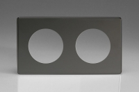 Varilight European VariGrid Double faceplate with a 2 hole cut-out in Iridium Black