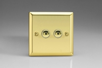 Varilight V-Plus IR Series 2 Gang 40-400 Watt Touch and Remote Dimmer Victorian Brass
