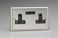 CLEARANCE XC5U2B Varilight 2 Gang, 13 Amp Unswitched Socket with 2 USB Charging Ports, Black Insert. Classic Polished Chrome