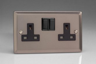 Varilight 2 Gang 13 Amp Double Pole Switched Socket Classic Pewter Effect Finish