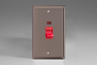 Varilight 45 Amp Double Pole Vertical Cooker Switch with Neon Classic Pewter Effect Finish