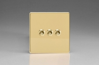 Varilight 3 Gang 10 Amp Toggle Switch Screwless Polished Brass