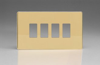 Varilight 4 Gang Power Grid Screwless Faceplate Including Screwless Power Grid Frames Screwless Polished Brass Coated