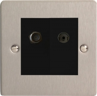 Varilight 2 Gang Comprising of Black Co-axial TV and Satellite TV Socket Ultra Flat Brushed Steel