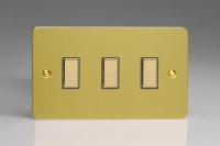 V-Pro Multi Point Tactile Touch Slave (MP Slave) Series 3 Gang Unit for use with V-Pro Multi Point Remote Master Dimmers Ultra Flat Brushed Brass