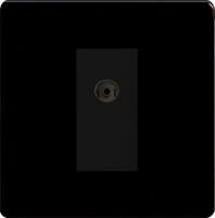 Varilight 1 Gang Black Isolated Co-axial TV Socket Screwless Premium Black