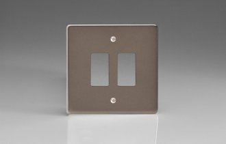 Varilight 2 Gang Power Grid Faceplate Including Power Grid Frame Dimension Pewter Effect Finish