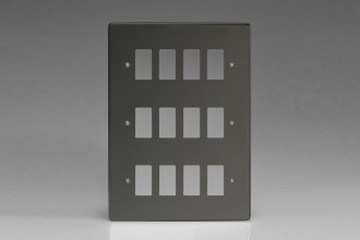 Varilight 12 Gang Power Grid Faceplate Including Power Grid Frames Dimension Iridium Black