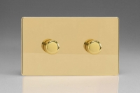 Varilight V-Pro High Power Series 2 Gang 10-300W Trailing Edge LED Dimmer Screwless Polished Brass