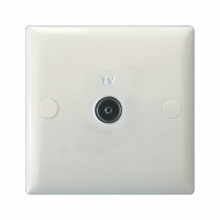 Varilight 1 Gang Co-axial TV Socket Classic Polar White Moulded Bevel