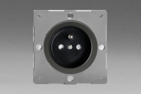 Varilight European Iridium Black VariGrid 1 Gang 16A Socket with Pin Earth, Flush Design