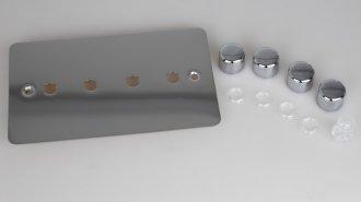 Varilight Matrix 4-Gang Double Plate Unpopulated Dimmer Kit. Ultra Flat Polished Chrome Coated