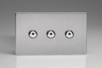 Varilight V-Pro IR Series 3 Gang 0-100 Watts Master Trailing Edge LED Dimmer Screwless Brushed Steel