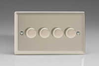 Varilight V-Com Series 4 Gang 15-180 Watt Leading Edge LED Dimmer Satin Chrome