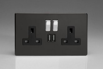 Varilight 2 Gang 13 Amp Single Pole Switched Socket with 2 x 5V DC 2.1 Amp USB Charging Ports Screwless Premium Black Plastic
