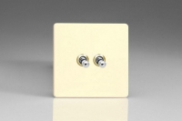 Varilight Euro Fixed 2 Gang 10 Amp Toggle Switch European Screwless White Chocolate