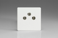 Varilight Euro Fixed Range 3 Gang RTV and Satellite Termination Socket for Analogue and Digital RTV-SAT Installations European Screwless Premium White
