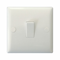 Varilight 1 Gang 20 Amp Double Pole Switch Classic Polar White Moulded Bevel