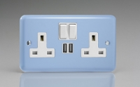 Varilight 2 Gang 13 Amp Single Pole Switched Socket with 2 x 5V DC 2.1 Amp USB Charging Ports Classic Lily Duck Egg Blue