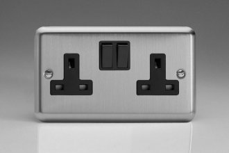 Varilight 2 Gang 13 Amp Double Pole Switched Socket Classic Matt Chrome Finish (Brushed Steel Effect)