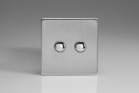 Varilight 2 Gang 6 Amp Push-on/off Impulse Switch Screwless Brushed Steel