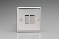 Varilight 2 Gang Comprising of 1 Intermediate (3 Way) and 1 Standard (1 or 2 Way) 10 Amp Switch Classic Polished Chrome