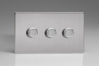 Z2WHDI3S 3 Gang Dimmer Plate Screwless Brushed Steel