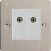 Varilight 2 Gang White Co-axial TV Socket Ultra Flat Brushed Steel
