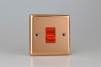 Varilight 45 Amp Double Pole Cooker Switch Classic Polished Copper
