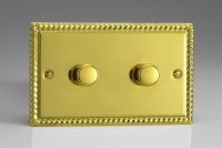 Varilight V-Pro Series 2 Gang 0-120W Trailing Edge LED Dimmer Georgian Brass