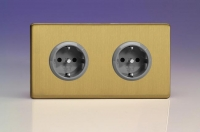 XEB5.5S Varilight European 2 Gang (Double), Schuko Protruding Design Socket, Dimension Screwless Brushed Brass (Double Plate)
