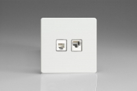 Varilight Euro Fixed 2 Gang RJ45 CAT 5e and RJ12 Socket European Screwless Premium White