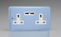 Varilight 2 Gang 13 Amp Single Pole Unswitched Socket with 2 Optimised USB Charging Ports Classic Lily Duck Egg Blue