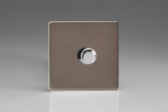 Varilight V-Pro Series 1 Gang 0-120W Trailing Edge LED Dimmer Screwless Pewter Effect Finish