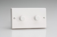 Varilight V-Pro Series 2 Gang 0-120W Trailing Edge LED Dimmer Classic White