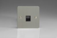Varilight 1 Gang Black Telephone Slave Socket Ultra Flat Brushed Steel
