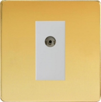 Varilight 1 Gang White Co-axial TV Socket Screwless Polished Brass
