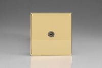 Varilight 1 Gang Co-axial TV Socket Screwless Polished Brass