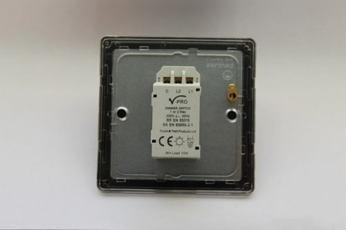 Varilight V-Pro High Power Series 1 Gang 0-300W Trailing Edge LED Dimmer Screwless Polished Chrome Coated