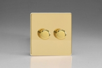 Varilight V-Plus Series 2 Gang 40-300 Watt/VA Dimmer Screwless Polished Brass