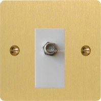 Varilight 1 Gang White Isolated Co-axial TV Socket Ultra Flat Brushed Brass