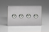 Varilight V-Pro IR Series 4 Gang 0-100 Watts Master Trailing Edge LED Dimmer Screwless Brushed Steel