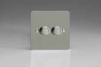 HFS2 Varilight V-Dim Series 2 Gang, 1 Way 2x250 Watt Dimmer, Ultra Flat Brushed Steel