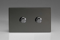 Varilight V-Pro High Power Series 2 Gang 10-300W Trailing Edge LED Dimmer Screwless Iridium Black