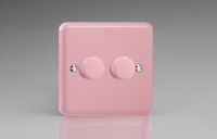 Varilight V-Com Series 2 Gang 15-180 Watt Leading Edge LED Dimmer Rose Pink