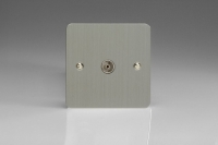 Varilight 1 Gang Co-axial TV Socket Ultra Flat Brushed Steel